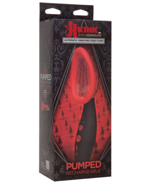 Kink Pumped Rechargeable Automatic Vibrating Pussy Pump – Black-red